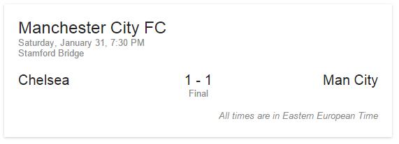 google match result