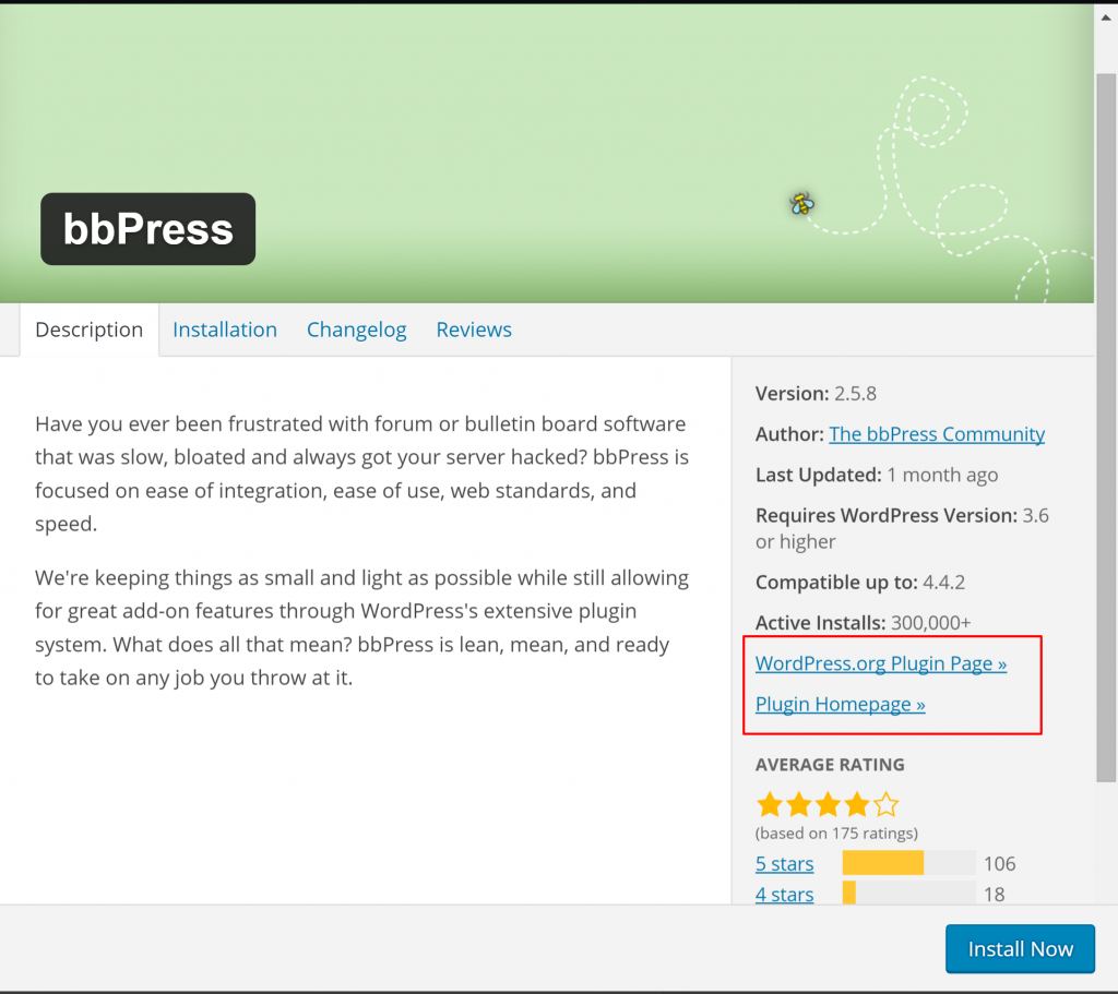 plugin details WordPress
