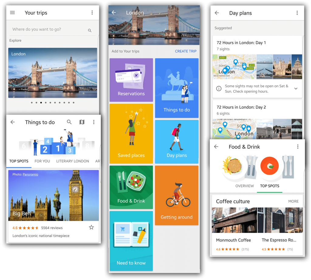 google trips-interface